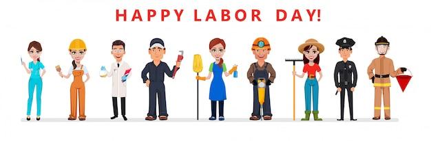 Cartel del día del trabajo. personas de diferentes ocupaciones.