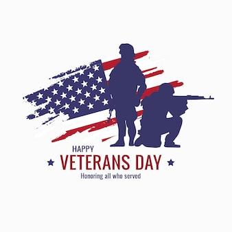 Cartel del día de los veteranos. honrando a todos los que sirvieron. ilustración del día de los veteranos con bandera americana y soldados