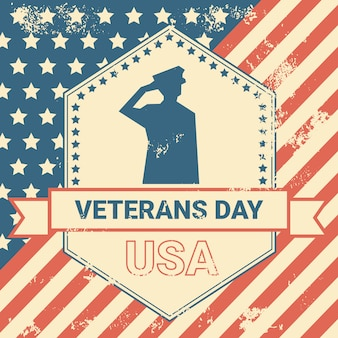 Cartel del día de los veteranos con nosotros, soldado militar en el fondo de la bandera de estados unidos grunge