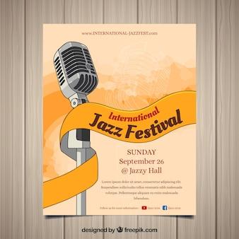 Cartel dibujado a mano del festival internacional de jazz
