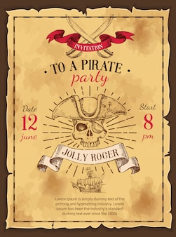 Cartel dibujado fiesta pirata
