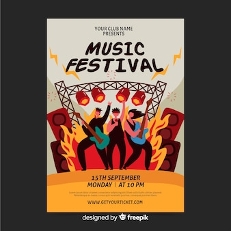 Cartel dibujado a mano para festival de rock