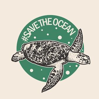 Cartel dibujado mano de tortuga marina