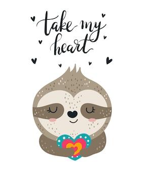 Cartel de dibujo de mano de vector con lindo animal y encantador lema doodle ilustración