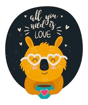 Cartel de dibujo vectorial a mano con animal lindo y encantador lema
