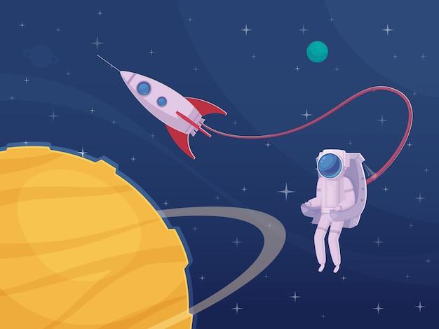 Cartel de dibujos animados de actividad extravehicular de astronauta