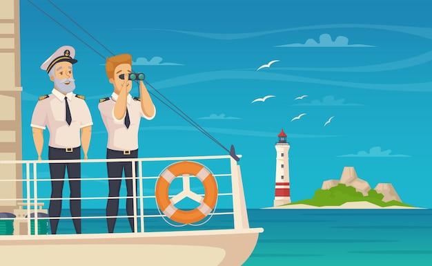 Cartel de dibujos animados de capitán de tripulación de barco