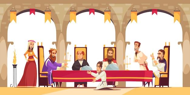 Cartel de dibujos animados del castillo con el rey sentado en el trono rodeado de su séquito y ciudadano pidiendo ilustración de rodillas