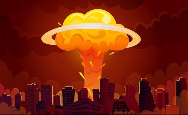 Cartel de dibujos animados de la ciudad de explosión nuclear