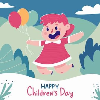 Cartel de dibujos animados del día del niño feliz con linda chica y globos
