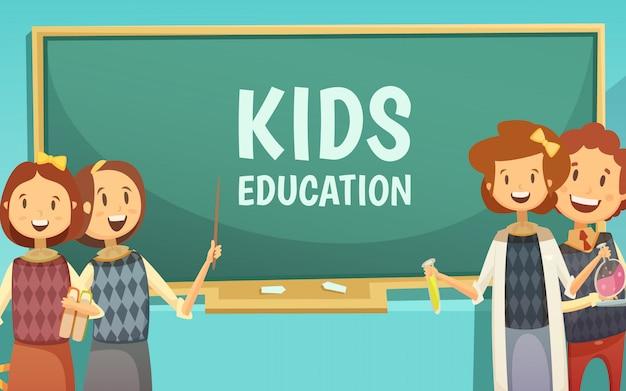 Cartel de dibujos animados de educación infantil de primaria y secundaria con niños felices en el aula con tiza