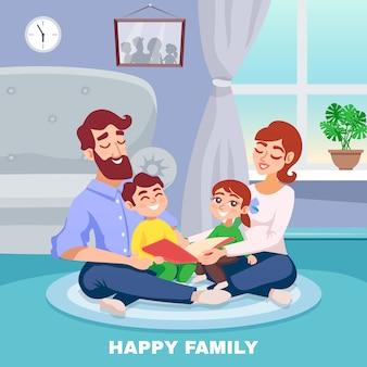 Cartel de dibujos animados de familia feliz