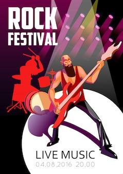 Cartel de dibujos animados del festival de rock