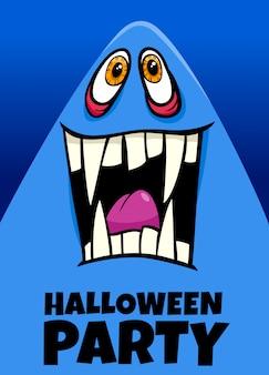 Cartel de dibujos animados de fiesta de halloween con fantasma