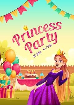 Cartel de dibujos animados de fiesta de princesa con niña en corona y vestido en el patio de la casa
