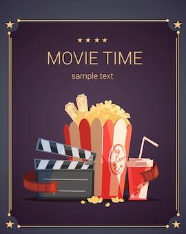 Cartel de dibujos animados de la hora del cine