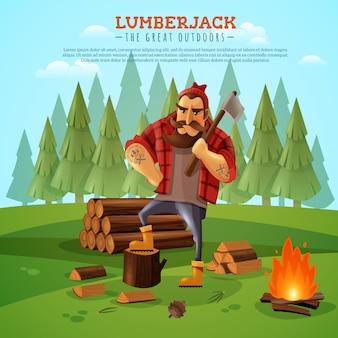 Cartel de dibujos animados de leñador woodsman outdoors