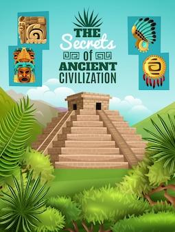 Cartel de dibujos animados mayas