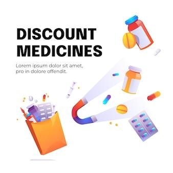 Cartel de dibujos animados de medicamentos de descuento con imán para atraer medicamentos, jeringas y píldoras médicas en botellas