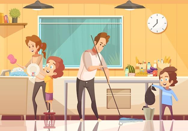 Cartel de dibujos animados de niños ayudando a limpiar