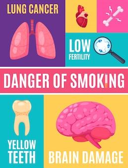 Cartel de dibujos animados de peligro de fumar