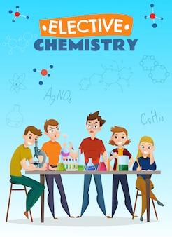 Cartel de dibujos animados de química electiva
