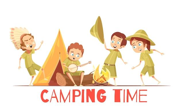 Cartel de dibujos animados retro de actividades para el campamento de verano para niños exploradores tocando canciones de fogatas indias y cantantes