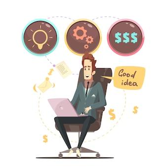 Cartel de dibujos animados retro de idea de negocio