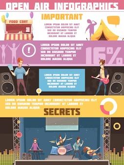 Cartel de dibujos animados retro de infografía de festival al aire libre con reglas de campamento e información sobre los artistas