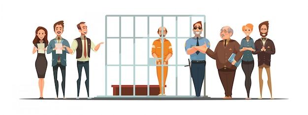 Cartel de dibujos animados retro de ley y justicia con anuncio de sentencia y condenado tras las rejas