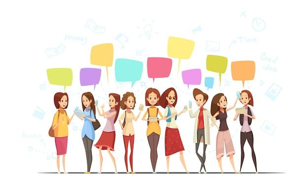 Cartel de dibujos animados retro en línea de comunicación de personajes adolescentes niñas con símbolos de dinero y burbujas de mensajes de chat ilustración vectorial