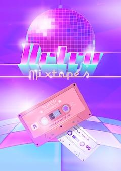 Cartel de dibujos animados retro mixtapes con casetes de audio bola de discoteca y pista de baile