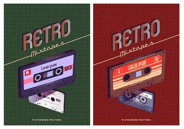 Cartel de dibujos animados retro mixtapes con casetes de cintas de mezcla de audio