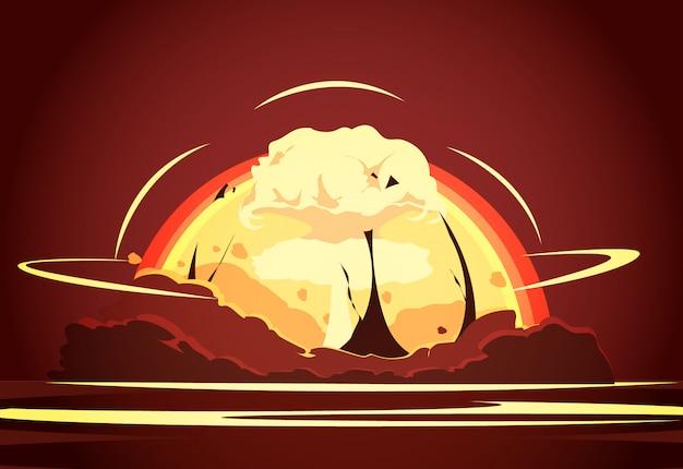 Cartel de dibujos animados retro de prueba de desierto de arma nuclear con radioactivo creciente