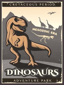 Cartel de dinosaurio vintage