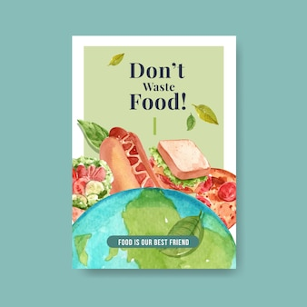 Cartel con diseño de concepto del día mundial de la alimentación para publicidad y acuarela de folletos