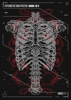 Cartel de diseño del cuerpo humano con elementos futuristas de hud. holograma anatomía humana y esqueleto.