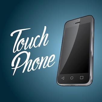 Cartel de diseño de dispositivo de teléfono inteligente con objeto digital e ilustración de teléfono táctil de palabra