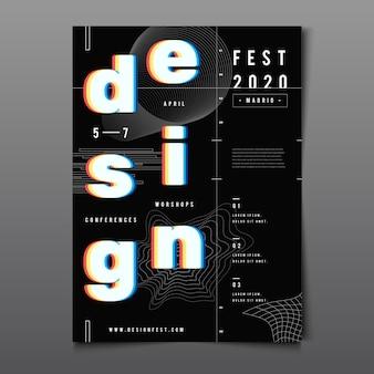 Cartel de diseño de efecto de gafas cian rojo 3d