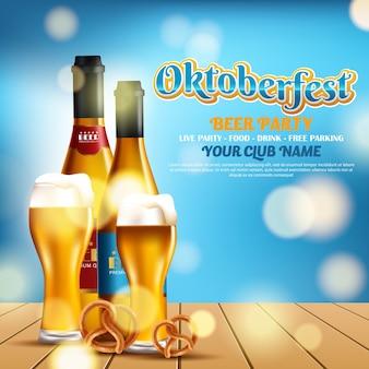 Cartel de diseño con elementos de comida y bebida