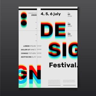 Cartel de diseño del festival con efecto de gafas cian rojo 3d