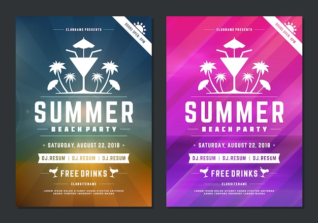 Cartel de diseño de fiesta de verano o flyer evento de club nocturno tipografía moderna