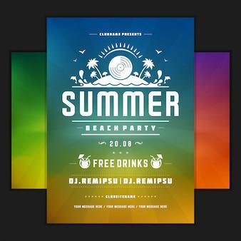 Cartel de diseño de fiesta de verano retro o plantilla de volante
