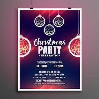 Cartel de diseño de flyer de fiesta de feliz navidad