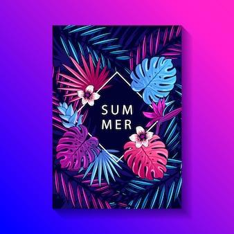 Cartel de diseño de hojas y flores tropicales.