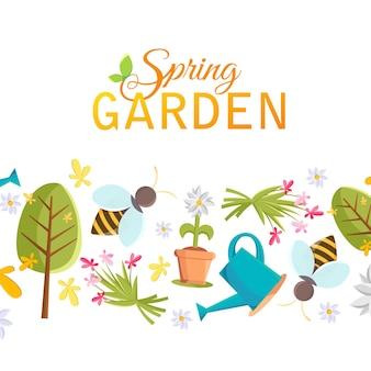 Cartel de diseño de jardín de primavera con árbol, maceta, abeja, regadera, casa de pájaros y muchos otros objetos bajo las palabras jardín de primavera en el blanco