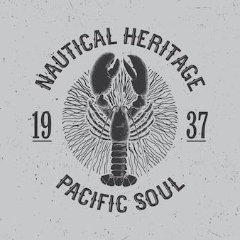 Cartel de diseño marítimo con frase herencia náutica pacific soul ilustración