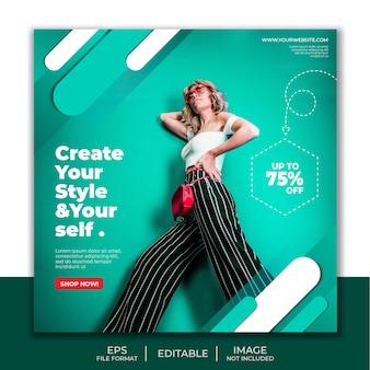 Cartel de diseño de moda de niña simple para publicación en redes sociales.
