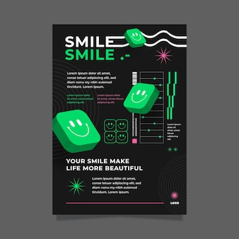 Cartel de diseño plano de cartel emoji ácido.