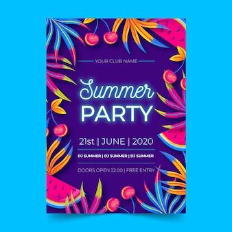 Cartel de diseño plano de fiesta de verano de neón